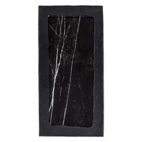 American Metalcraft MBR18 18 inch x 8 7/8 inch Rectangular Black Marble / Slate Two-Tone Melamine Serving Platter