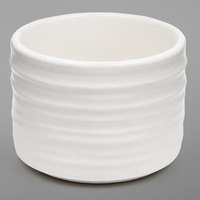 American Metalcraft PCWH2 2 oz. Round White Porcelain Sauce Cup with Ribbed Sides
