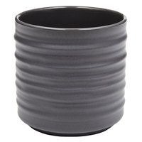 American Metalcraft PCG10 10 oz. Round Gray Porcelain Fry Cup with Ribbed Sides