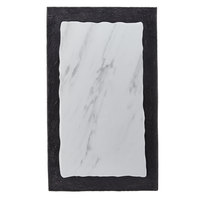 American Metalcraft MWR21 21 3/8 inch x 12 7/8 inch Rectangular White Marble / Black Slate Two-Tone Melamine Serving Platter