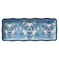 American Metalcraft BLUP14 Isabella 14 inch x 5 inch 5/8 Rectangular Blue / White Floral Melamine Serving Platter with Scalloped Rim