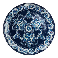 American Metalcraft BLUP11 Isabella 11 inch Round Blue / White Floral Melamine Plate