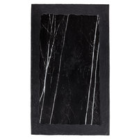 American Metalcraft MBR21 21 3/8 inch x 12 7/8 inch Rectangular Black Marble / Slate Two-Tone Melamine Serving Platter