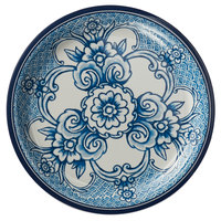 American Metalcraft BLUP6 Isabella 6 1/2 inch Round Blue / White Floral Melamine Bread and Butter Plate