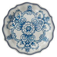 American Metalcraft BLUP8 Isabella 9 inch Round White / Blue Floral Melamine Plate with Scalloped Rim