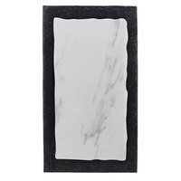 American Metalcraft MWR15 14 1/2 inch x 8 1/8 inch Rectangular White Marble / Black Slate Two-Tone Melamine Serving Platter