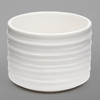 American Metalcraft PCWH4 4 oz. Round White Porcelain Sauce Cup with Ribbed Sides