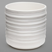 American Metalcraft PCWH10 10 oz. Round White Porcelain Fry Cup with Ribbed Sides