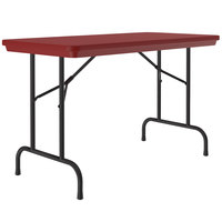 Correll R-Series R2448 24 inch x 48 inch Red Plastic Folding Table