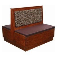 American Tables & Seating AD36-W-PS Plain Back Platform Seat Double Wood Booth - 36 inch High
