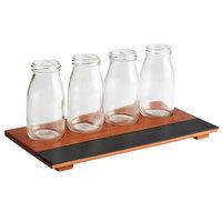 Acopa Chalkboard Tray with 6 oz. Milk Bottles - 3 Sets/Case