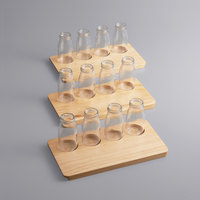 Acopa Natural Flight Tray with 6 oz. Milk Bottles   - 3/Set
