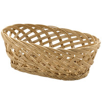 Tablecraft 1636 Natural Open Weave Oval Willow Basket 10 inch x 6 1/2 inch x 3 1/4 inch