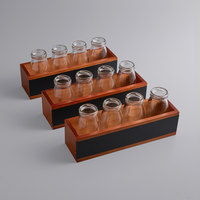 Acopa Chalkboard Crate with 6 oz. Milk Bottles - 3/Set