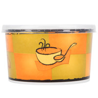 Huhtamaki Chinet 70416 16 oz. Double-Wall Poly Squat Paper Soup / Hot Food Cup with Plastic Lid and Streetside Design - 250 / Case