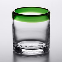 Acopa Tropic 12 oz. Rocks Glass with Green Rim - 12/Case