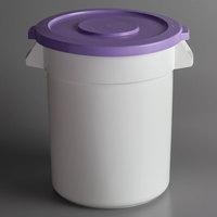 Baker's Mark Allergen-Safe 20 Gallon / 320 Cup White Round Ingredient Storage Bin with Purple Snap-On Lid