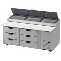 Beverage-Air DPD72HC-6 Hydrocarbon Series 72 inch 6 Drawer Pizza Prep Table