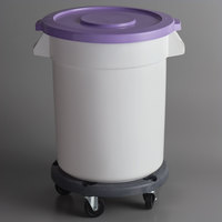 Baker's Mark Allergen-Safe 20 Gallon / 320 Cup White Round Mobile Ingredient Storage Bin with Purple Snap-On Lid and Gray Dolly