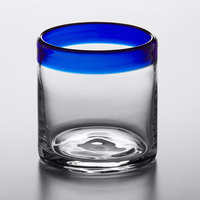 Acopa Tropic 12 oz. Rocks Glass with Blue Rim - 12/Case