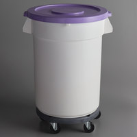 Baker's Mark Allergen-Safe 32 Gallon / 510 Cup White Round Mobile Ingredient Storage Bin with Purple Snap-On Lid and Gray Dolly