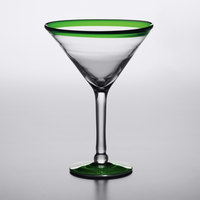 Acopa Tropic 15 oz. Martini Glass with Green Rim and Base - 12/Case
