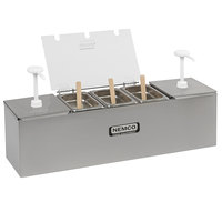 Nemco 88100-CB-1 26 inch Stainless Steel Condiment Bar with Two 3 Qt. Pumps and 6.1 Qt. Condiment Pan