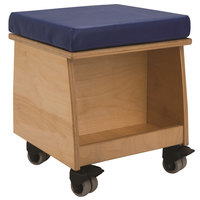 Whitney Brothers WB0096 13 1/2 inch x 13 1/2 inch x 15 3/4 inch Story Time Mobile Wood Teacher's Stool with Book Storage