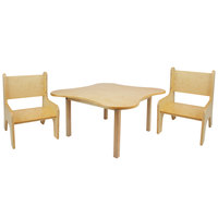 Whitney Brothers WB0181 29 1/2 inch Flower Shaped Wood Children's Table with Two Toddler Chairs