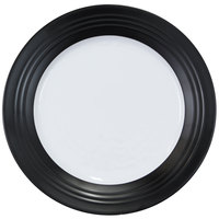 Elite Global Solutions D897GM-BW Durango Formal 9 inch Black / White Round Two-Tone Melamine Plate - 6/Case