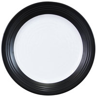 Elite Global Solutions D1098GM-BW Durango Formal 11 inch Black / White Round Two-Tone Melamine Plate - 6/Case