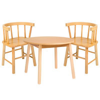 Whitney Brothers WB0180 28 inch Round 21 inch High Wood Children's Table with 2 Bentwood Back Chairs