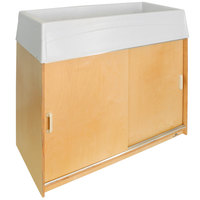 Whitney Brothers WB0688 46 inch x 21 1/2 inch x 38 inch Easy Clean Wood Changing Cabinet with 6-Tray Storage