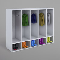 Whitney Brothers WB0659 White Melamine Five-Section Coat Locker - 50 inch x 15 inch x 38 1/2 inch