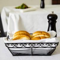 Tablecraft BK27209 Mediterranean Rectangular Black Metal Basket - 9 inch x 6 inch x 3 inch
