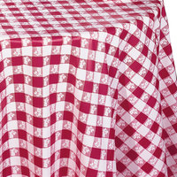 Creative Converting 41188 82 inch Round Red Gingham Plastic Tablecloth - 12/Case