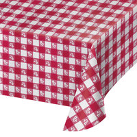 Creative Converting 39188 54 inch x 108 inch Red Gingham Plastic Tablecloth - 12/Case
