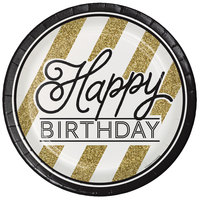 Creative Converting 317548 9 inch Black and Gold Happy Birthday Paper Plate - 96/Case