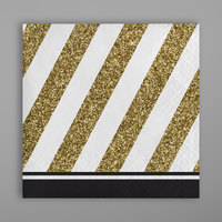 Creative Converting 317535 Black and Gold 2-Ply Beverage Napkin - 192/Case