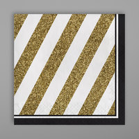 Creative Converting 317536 Black and Gold 2-Ply Napkin - 192/Case