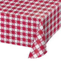 Creative Converting 28188 54 inch x 108 inch Red Gingham Paper Tablecloth - 12/Case