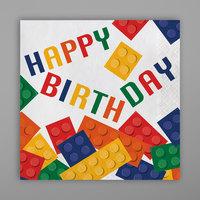 Creative Converting 102051 Block Party Happy Birthday 2-Ply Napkin - 192/Case