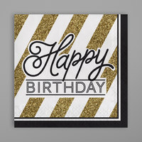 Creative Converting 317546 Black and Gold Happy Birthday 2-Ply Dinner Napkin - 192/Case