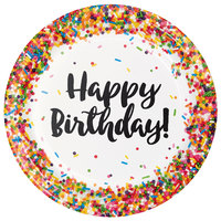 Creative Converting 324661 9 inch Confetti Sprinkles Happy Birthday Paper Plate - 96/Case