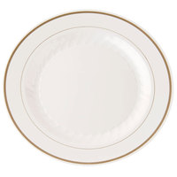 WNA Comet MP9IPREM 9 inch Ivory Masterpiece Plate with Gold Accent Bands 12 / Pack