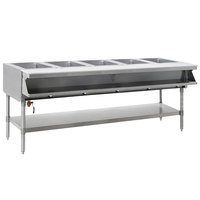 Eagle Group SHT5-240-3 Five Pan Sealed Well Stationary Hot Food Table with Undershelf - 240V, 3 Phase