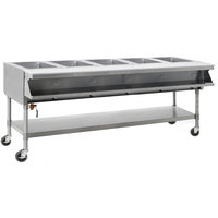 Eagle Group SPHT5-240-3 Five Pan Sealed Well Portable Hot Food Table with Undershelf - 240V, 3 Phase