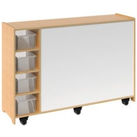 Whitney Brothers WB1768 Mobile Magnetic Write and Wipe Cabinet with Trays - 14 3/16 inch x 50 inch x 35 inch
