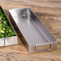 Elite Global Solutions SS6152 15 inch x 6 inch x 2 inch Rectangular Stainless Steel Food Pan Tray with Handles