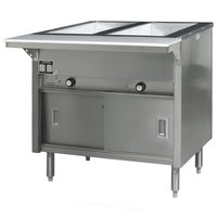 Eagle Group HT2CB-240-3 Spec Master Series Two Pan Open Well Electric Hot Food Table with Sliding Doors - 240V, 3 Phase